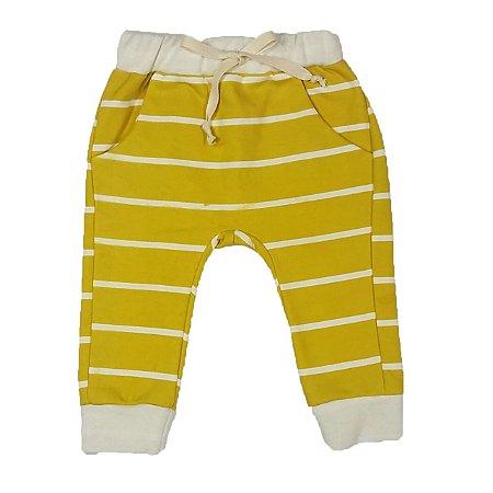 Calça Bebê Saruel Com Bolso Amarela