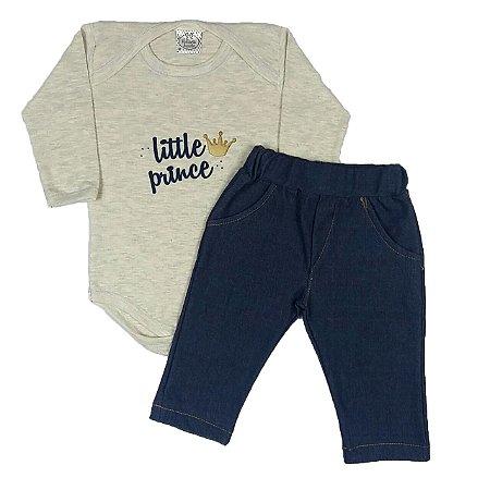 Conjunto Bebê Bodye Little Prince + Calça Jeans