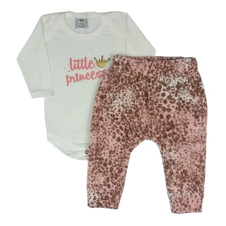 Conjunto Baby Little Princess + Calça Soft Onça