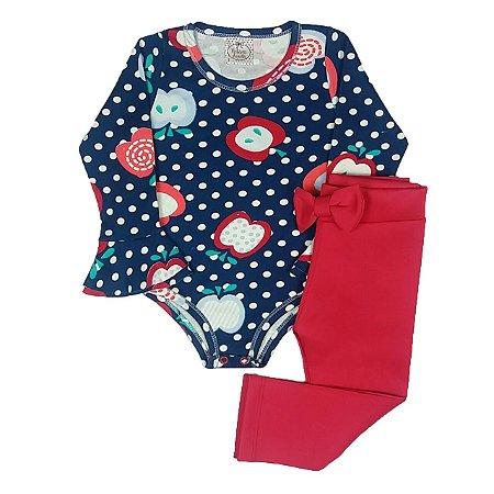 Conjunto Infantil Bodye Estampado Com Calça Rosa