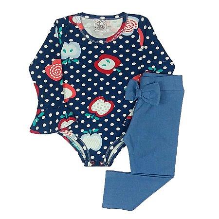 Conjunto Infantil de Bodye Estampado Com Calça Azul