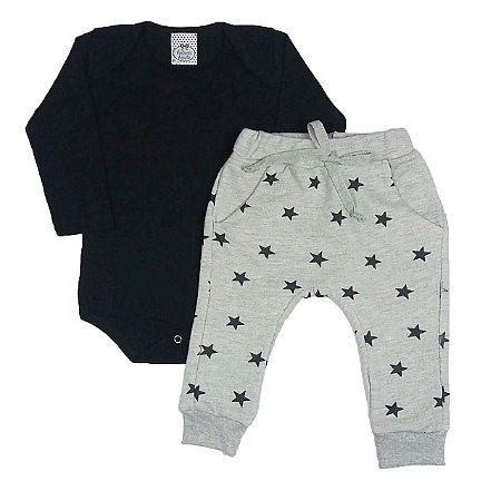 Conjunto Bebê Body Preto E Calça Estrelas