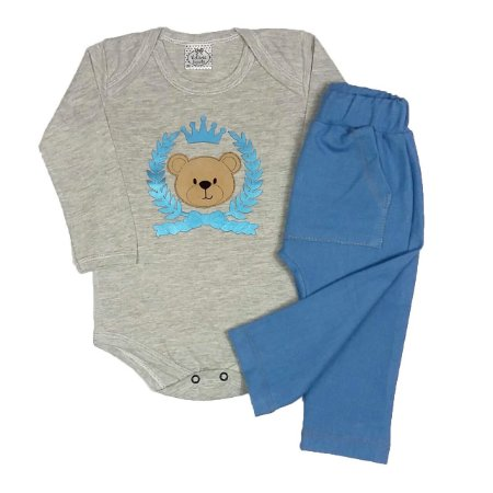 Conjunto Bebê Bodie Urso + Calça Saruel Azul