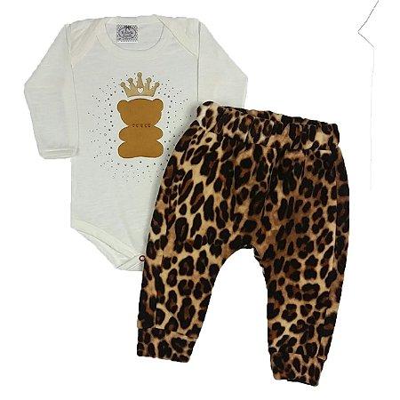Conjunto Bebê Bodye Urso + Calça Soft Onça