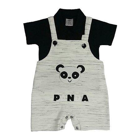 Jardineira Bebê Panda Com Gola Polo Preta