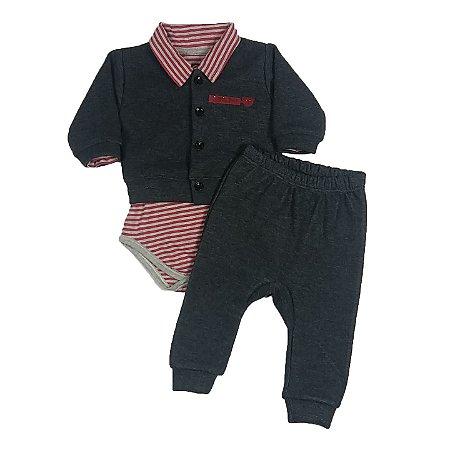 Conjunto Bebê Body Polo Com Casaquinho E Calça