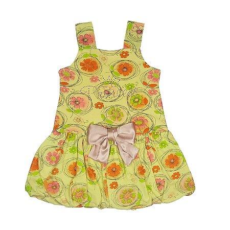 Vestindo Infantil Balone Amarelo Floral