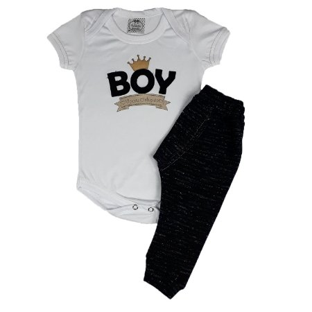 Conjunto Bebê Bodie Boy + Calça Boxer Preta