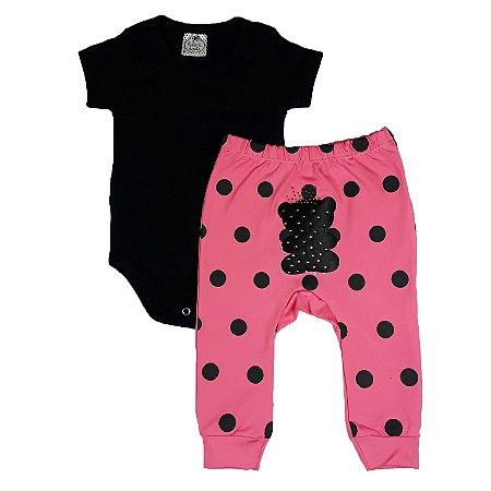Conjunto Bebê Body Cotton Preto + Calça Poá Rosa Com Urso