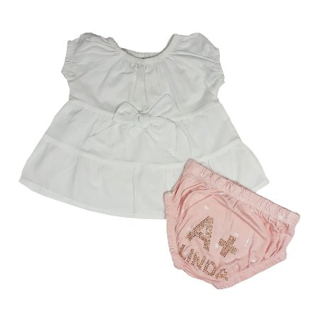 Conjunto Bebê Bata Tecido + Calcinha A + Linda
