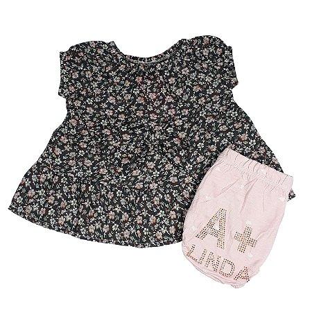 Conjunto Bebê Bata Floral + Calcinha A + Linda