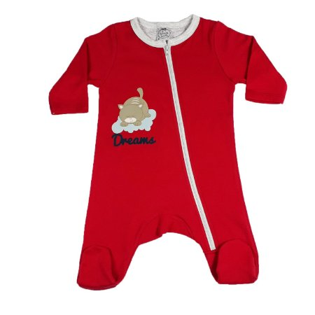 Macacão Bebê Com Zíper E Pezinho Vermelho