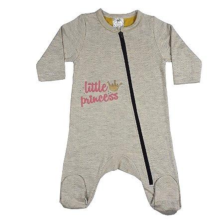 Macacão Bebê Mescla Com Zíper E Pezinho Little Princess