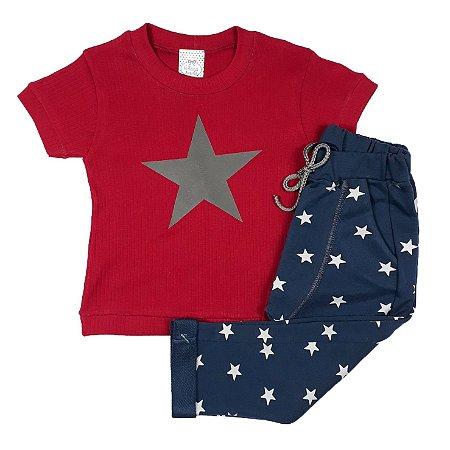 Conjunto Infantil Camiseta Estrela Vermelha + Calça Saruel
