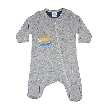 Macacão Bebê Cinza Princes Com Pezinho E Zíper