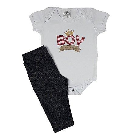 Conjunto Bebê Bodye Boy + Calça Jeans Escura