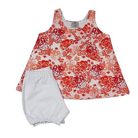 Bata Bebê Floral + Shorts Branco
