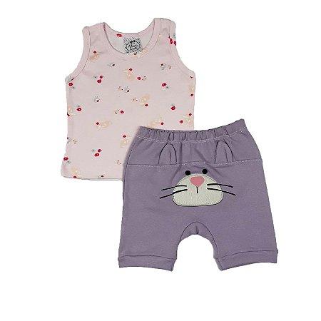 Conjunto Bebê Regata Estampada + Shorts Coelhinho