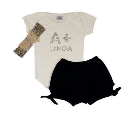 Conjunto Bebê A + Linda + Shorts + Faixa Onça