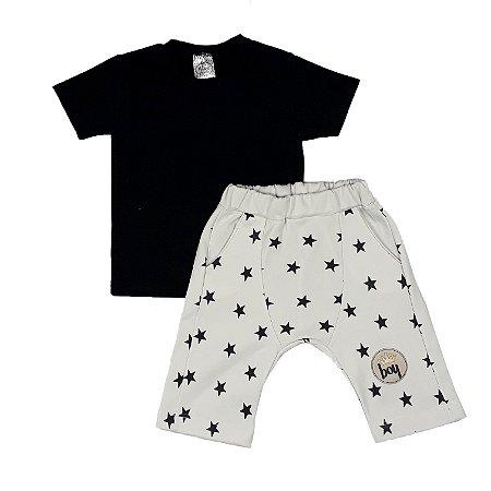Conjunto Infantil Camiseta Preta + Bermuda Estrelas