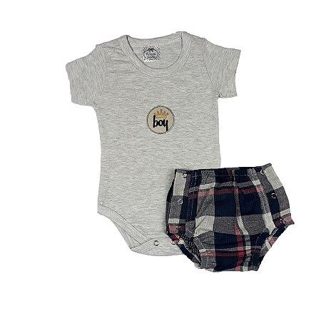 Body Bebê Boy + Tapa Fralda Xadrez Tecido