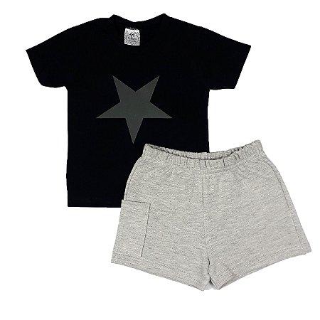 Conjunto Infantil Camiseta Estrela + Shorts Cinza