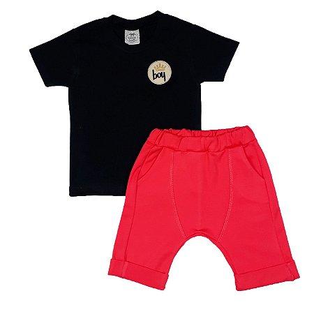 Conjunto Infantil Camiseta Boy + Bermuda Saruel