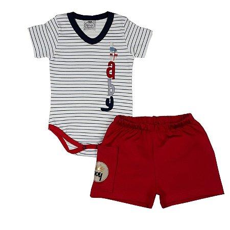 Conjunto Bebê Body Listras + Shorts Vermelho