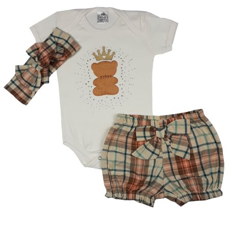 Conjunto Bebê Body + Shorts E Turbante Xadrez