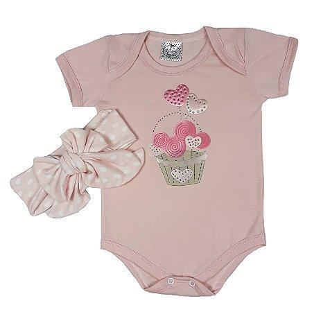 Body Bebê Cupcake + Turbante