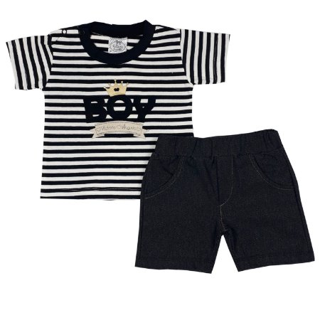 Conjunto Bebê Camiseta Boy + Bermuda Jeans