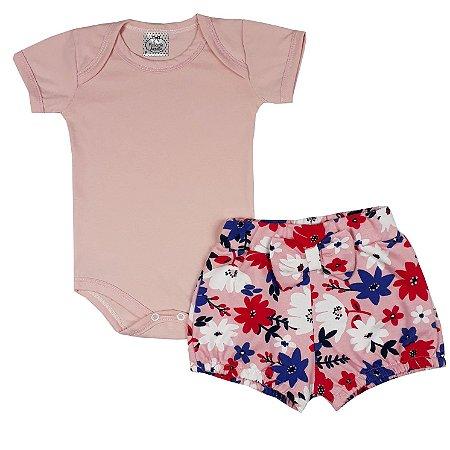 Conjunto Bebê Body Rosa + Shorts Floral