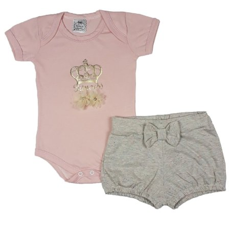 Conjunto Bebê Body Princess + Shorts