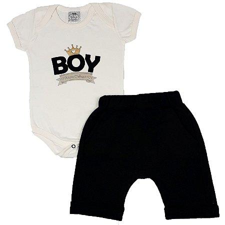 Conjunto Bebê Body Boy Bege + Shorts Saruel