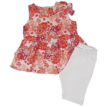 Conjunto Infantil Bata Floral + Shorts