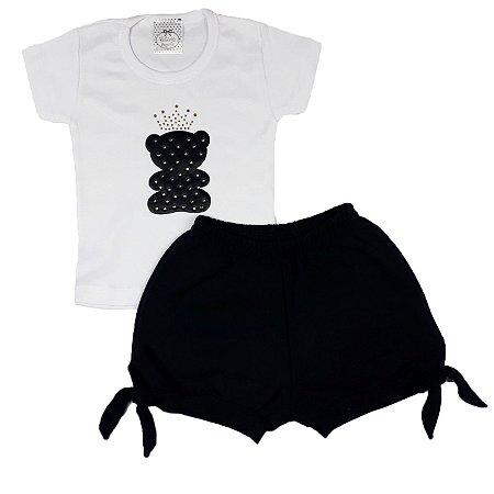 Conjunto Infantil Camiseta Urso + Shorts Preto