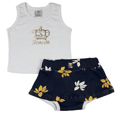 Conjunto Bebê Regata Princess + Shorts Saia Flores