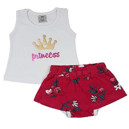 Conjunto Bebê Regata Princess + Shorts Saia Flores Vermelho