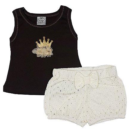 Conjunto Bebê Regata Marrom + Shorts Lesie