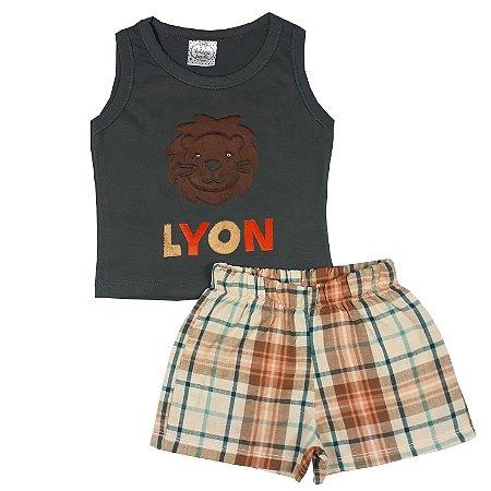 Conjunto Bebê Regata Lyon + Shorts Xadrez