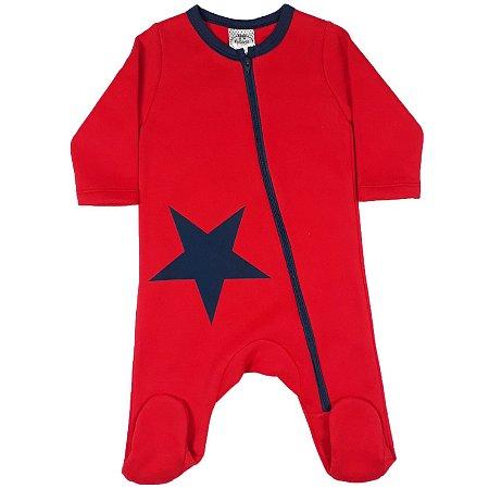 Macacão Bebê Estrela Vermelho