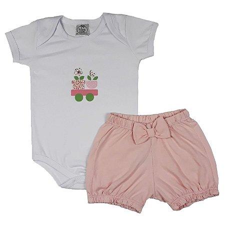 Conjunto Bebê Body Flores + Shorts Bombachinha