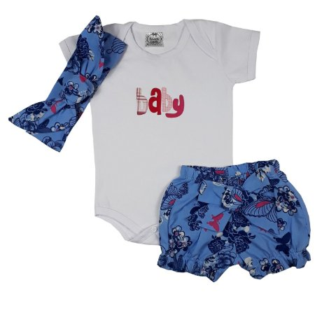 Conjunto Bebê Body Baby + Shorts Floral + Turbante