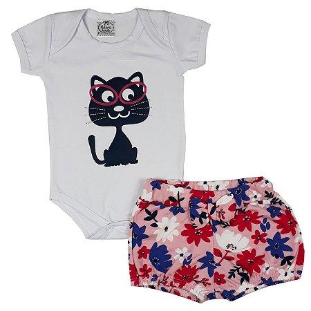 Conjunto Bebê Body Gatinha + Shorts Floral