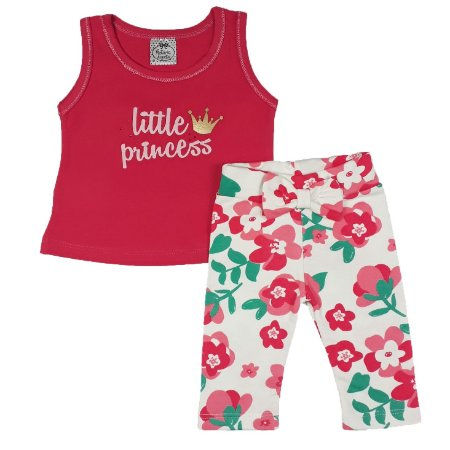 Conjunto Bebê Regata Little Princess + Legging Floral