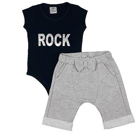 Conjunto Infantil Body Rock + Bermuda Saruel