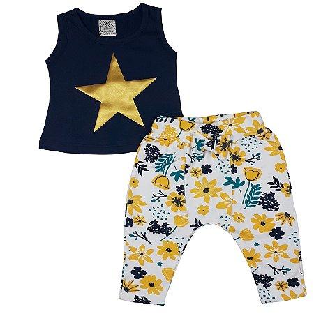Conjunto Bebê Regata Estrela + Calça Saruel Floral