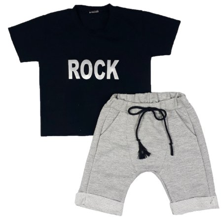 Conjunto Infantil Camiseta Rock + Bermuda Saruel