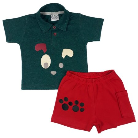 Conjunto Bebê Polo Dog + Shorts