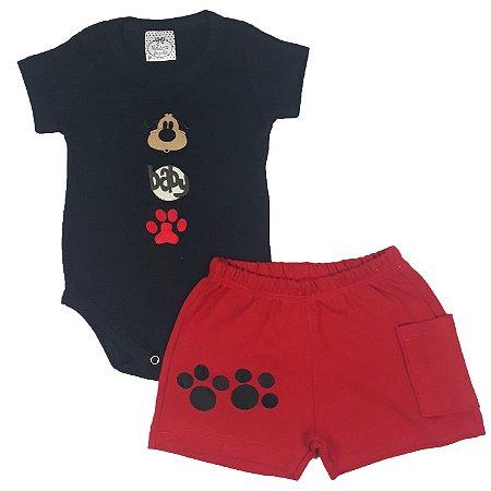 Conjunto Bebê Body Dog + Shorts Patas